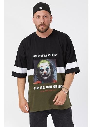 XHAN Siyah Baskılı Bloklu Oversie T-Shirt 1Kxe1-44593-02 Siyah